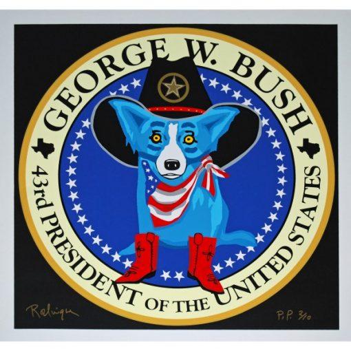 blue dog george w bush black background