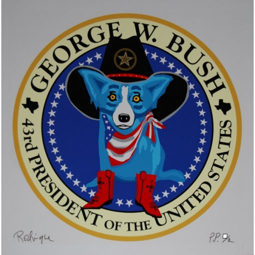 blue dog print george w bush white background