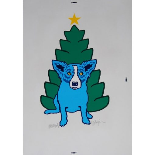 blue dog in front of christmas tree
