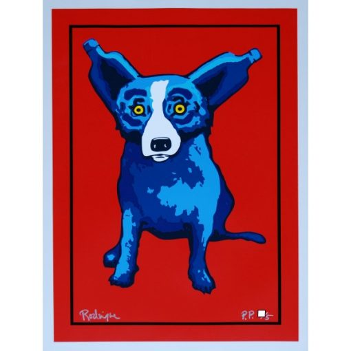 blue dog ablsote bottle ears red background