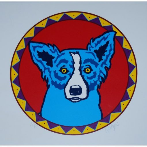 blue dog in a circle white background