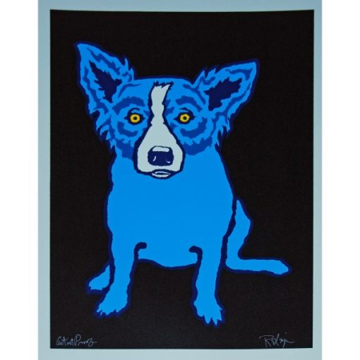 blue dog black back ground