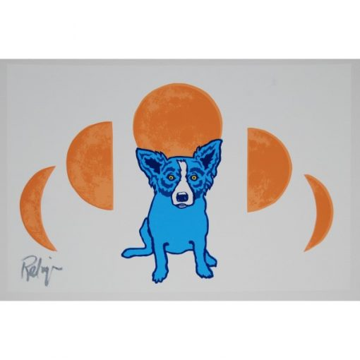 blue dog orange circles in background