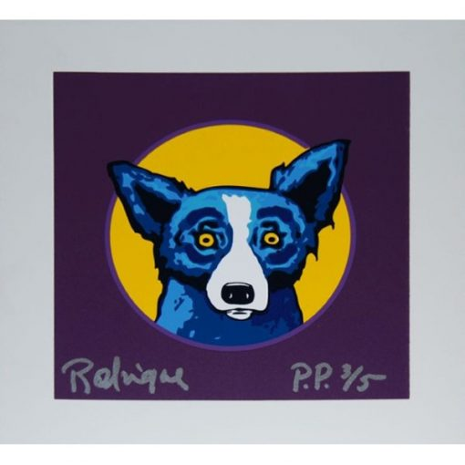 blue dog yellow circle purple background