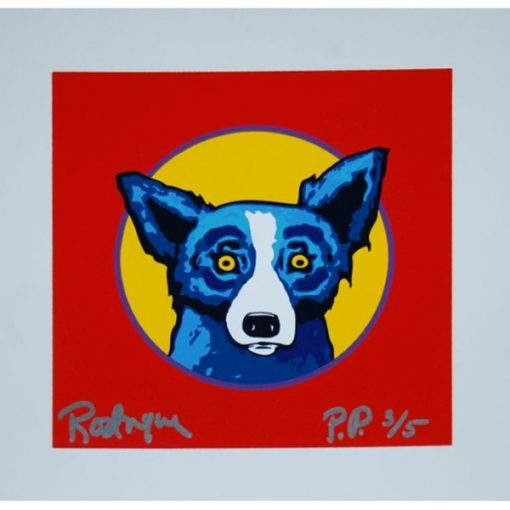 blue dog yellow circle red background