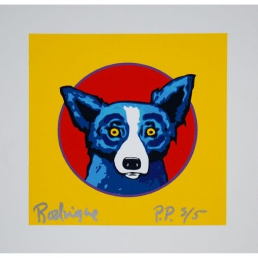 blue dog red circle yellow background