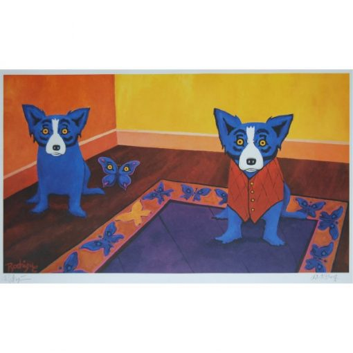 two blue dogs blue butterfly in a room with rug