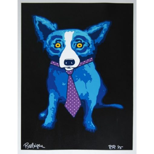 blue dog with purple tie black background