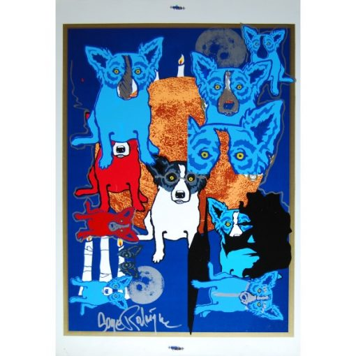 8 blue dogs miss printed orange moon