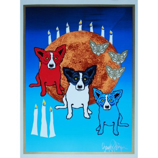 3 dogs a blue dog red dog and blackand white dog in front of moon