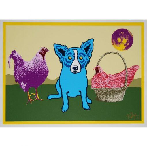 blue dog purple chicken red chicken in a basket purple moon