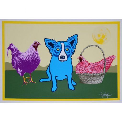 blue dog purple chicken red chicken yellow moon