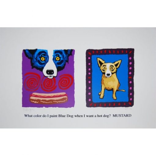 two pictures one blue dog and gold dog in frame