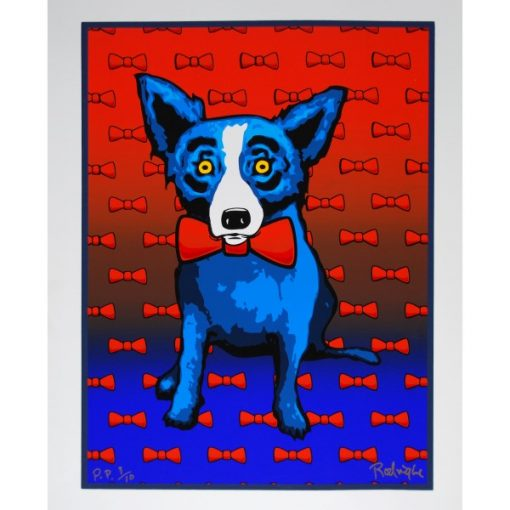 blue dog red bow tie and bow ties in the background