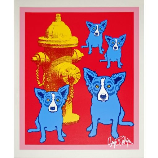 4 blue dogs wrapping around faded fire hydrant red background