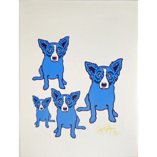 4 blue dogs on no background