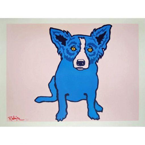 blue dog on pink background