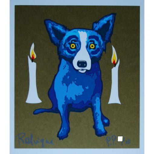 blue dog golden background 2 candles