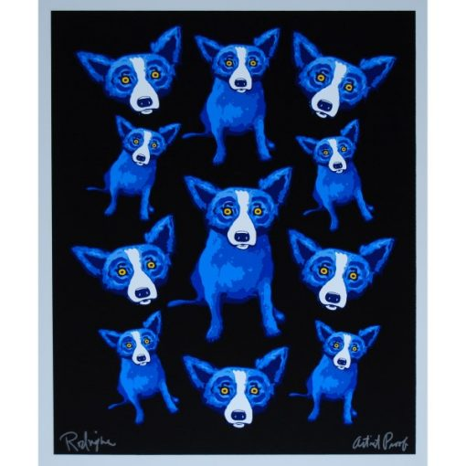 lots of blue dogs on black background
