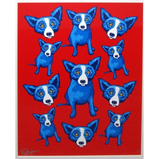 lots of blue dogs on red background