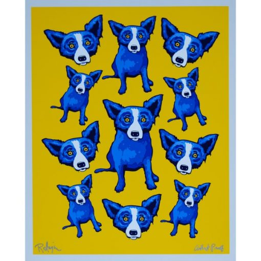 lots of blue dogs on yellow background