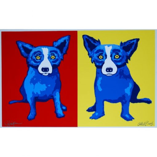 two blue dogs one on yellow background one on red background