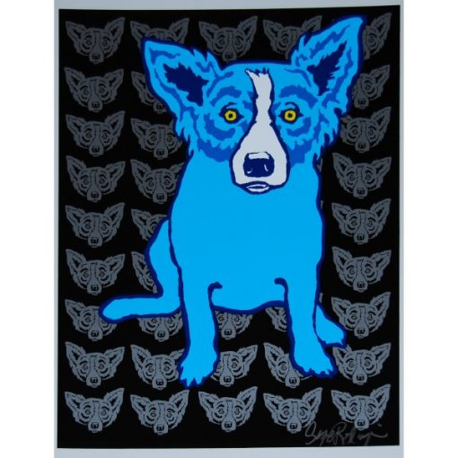 blue dog with silver blue dog heads in background