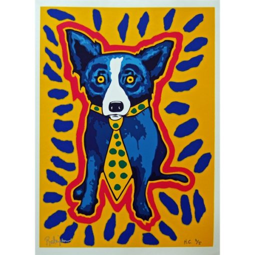 blue dog with red outline and blue dashes