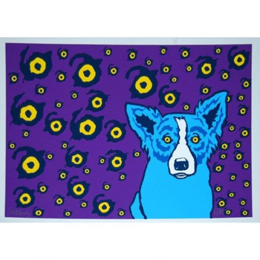 blue dog with eyes around him and purple background