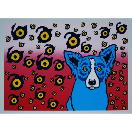 blue dog with eyes with red background