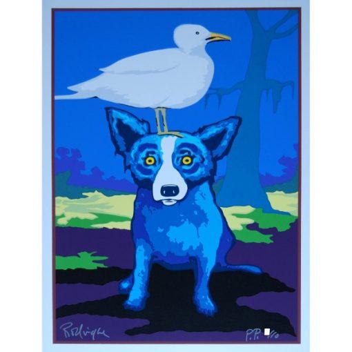 blue dog with bird on head