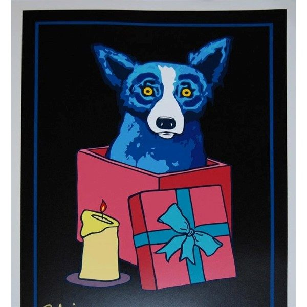 blue dog in present with black background