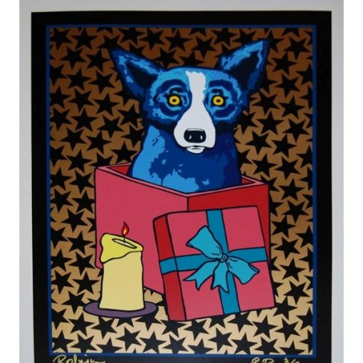 blue dog in present with black stars and gold background