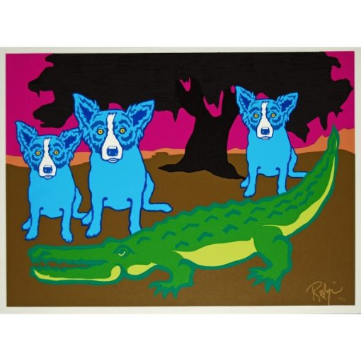 3 blue dogs by gator tree in background