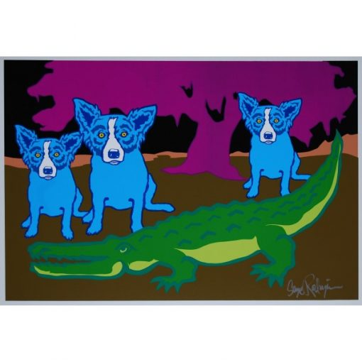 3 blue dogs with gator pink tree