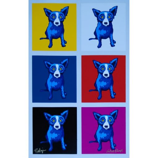 6 blue dogs with different backgrounds