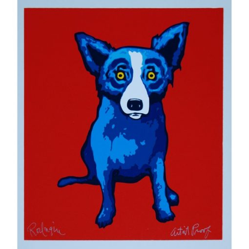 blue dog on red background