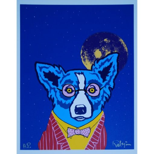 blue dog red suite with glasses on moon in background