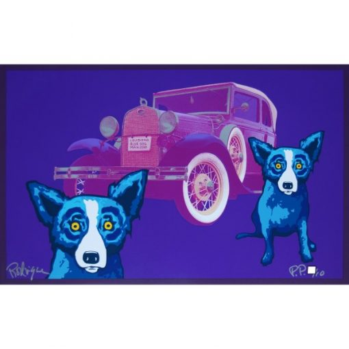 2 blue dogs in front of old car purple back ground
