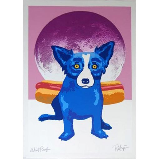 blue dog by hotdog in front of moon