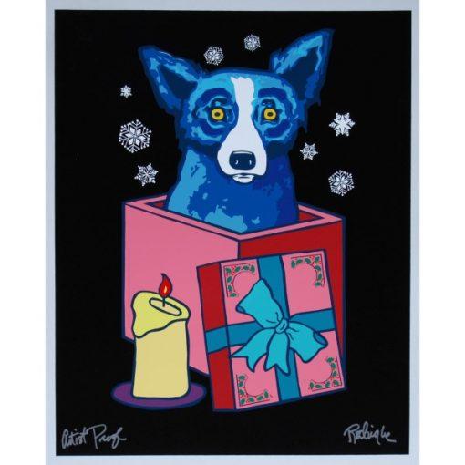 blue dog in present black bacground