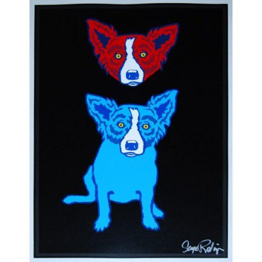 red dog head over blue dog on black background