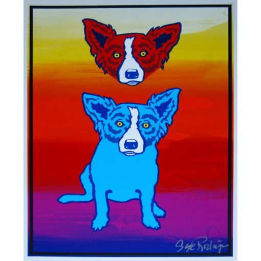 red dog head over blue dog