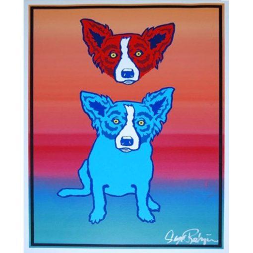 red god head over blue dog blue into orange background