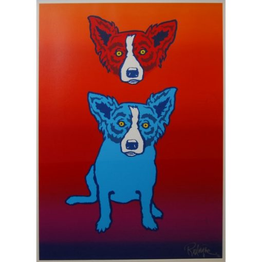 red dog head over blue dog red background