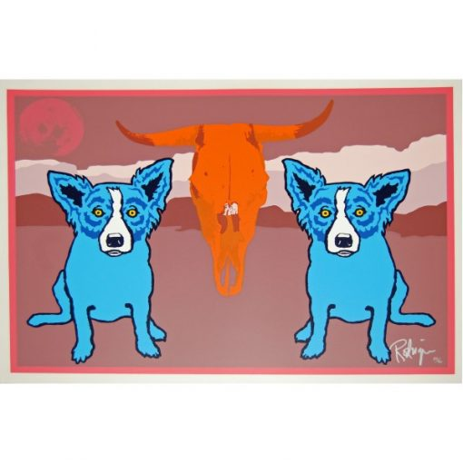 blue dogs on the side of orange cow skull