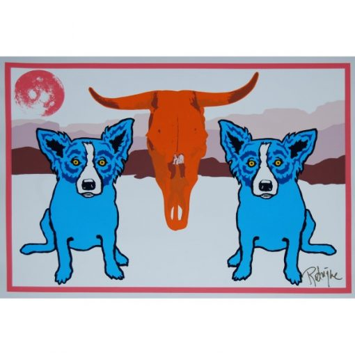 blue dogs on the side of cow skull white back