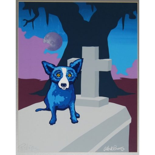 blue dog on casket tree and moon in background