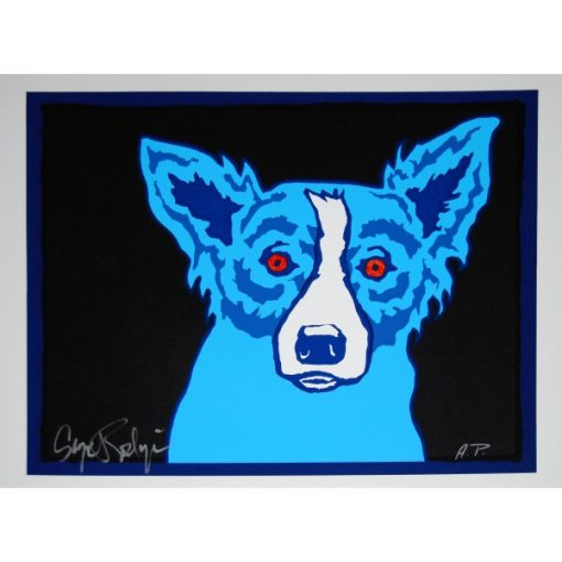 blue dog red eyes black background