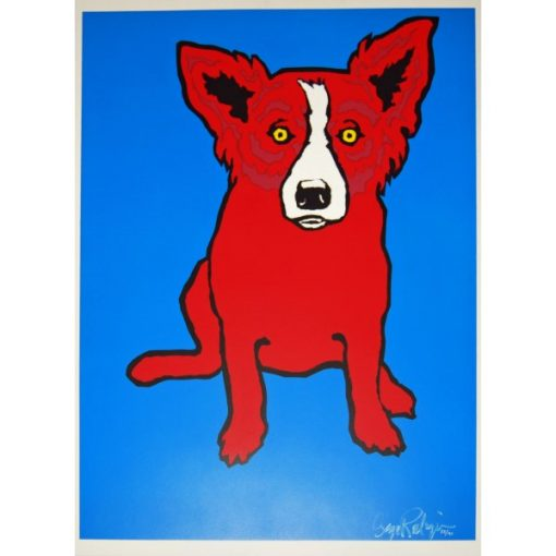 red dog on blue background